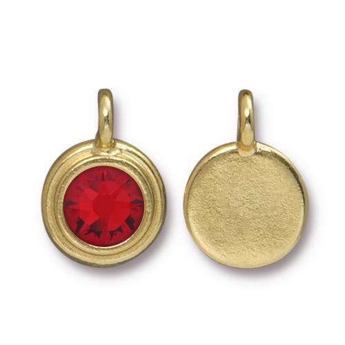 Tierracast Swarovski Birthstone Stepped Bezel Charms - 12mm, Gold Plated - Light Siam (July)