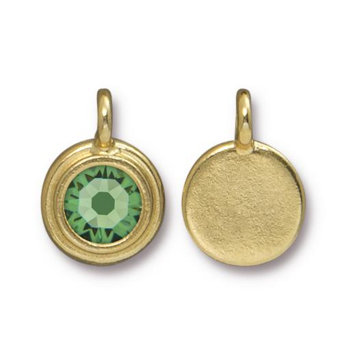 Tierracast Swarovski Birthstone Stepped Bezel Charms - 12mm, Gold Plated - Peridot (August)