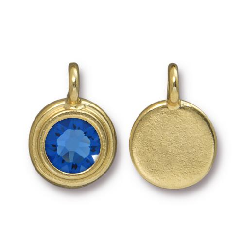 Tierracast Swarovski Birthstone Stepped Bezel Charms - 12mm, Gold Plated - Sapphire (September)
