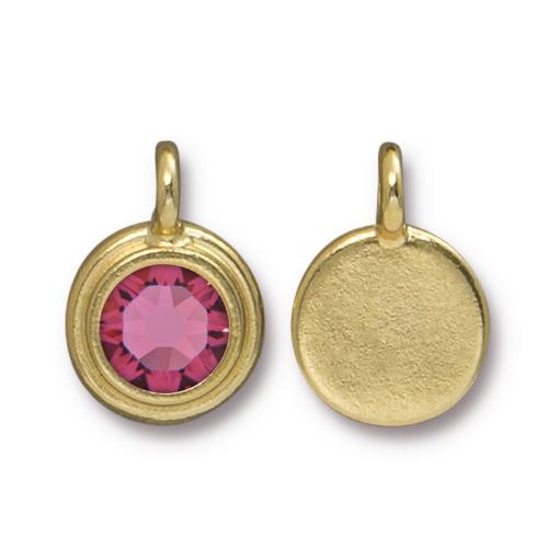 Tierracast Swarovski Birthstone Stepped Bezel Charms - 12mm, Gold Plated - Rose (October)