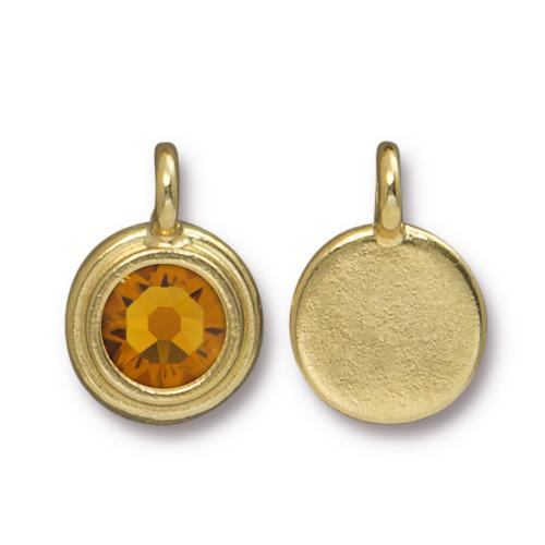 Tierracast Swarovski Birthstone Stepped Bezel Drops - 12mm, Gold Plated - Topaz (November)