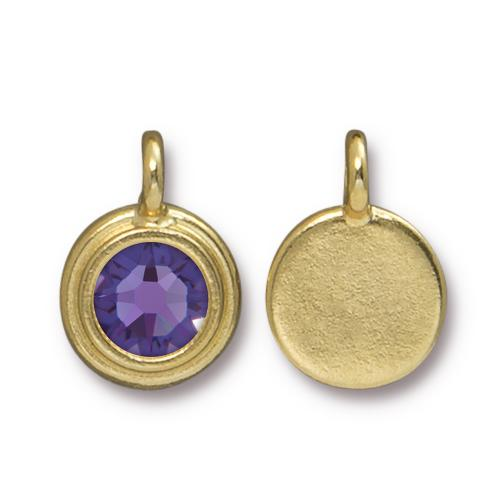 Tierracast Swarovski Birthstone Stepped Bezel Drops - 12mm, Gold Plated - Tanzanite (December)