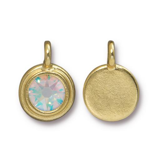 Tierracast Swarovski Stepped Bezel Drops - 12mm, Gold Plated - Crystal AB