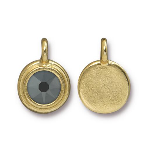 Tierracast Swarovski Stepped Bezel Drops - 12mm, Gold Plated - Jet Hematite