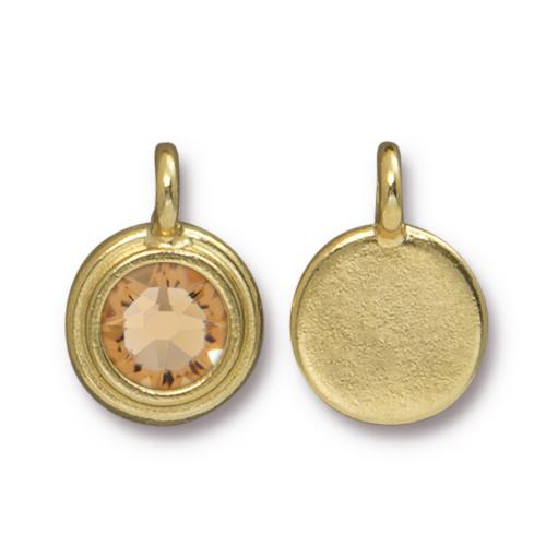 Tierracast Swarovski Stepped Bezel Drops - 12mm, Gold Plated - Lt Colarado Topaz