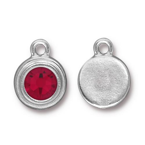 Tierracast Swarovski Birthstone Stepped Bezel Drops - 12mm, Rhodium Plated - Siam (January)
