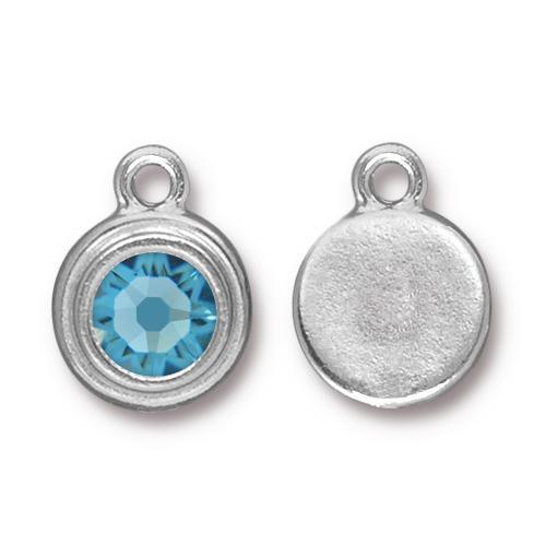 Tierracast Swarovski Birthstone Stepped Bezel Drops - 12mm, Silver Plated - Aquamarine (March)