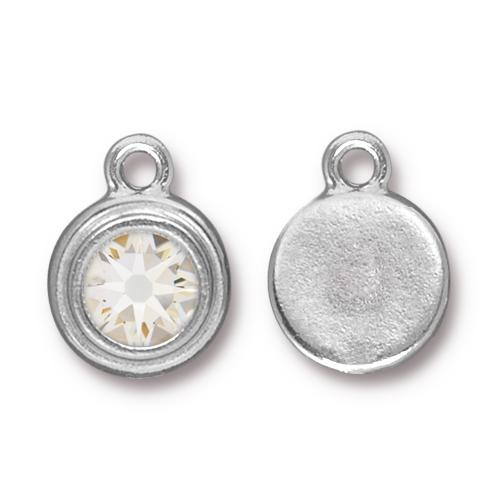 Tierracast Swarovski Birthstone Stepped Bezel Drops - 12mm, Silver Plated - Crystal (April)