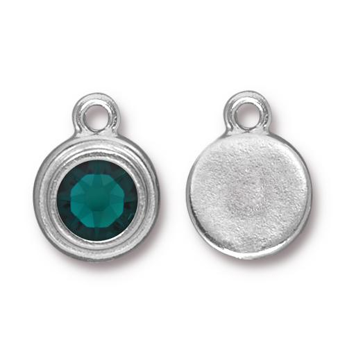Tierracast Swarovski Birthstone Stepped Bezel Drops - 12mm, Silver Plated - Emerald (May)