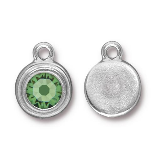 Tierracast Swarovski Birthstone Stepped Bezel Drops - 12mm, Silver Plated - Peridot (August)
