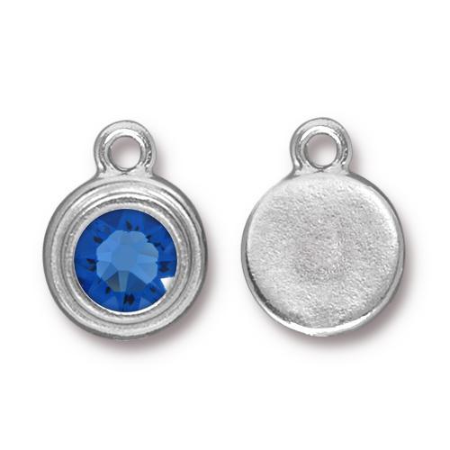 Tierracast Swarovski Birthstone Stepped Bezel Drops - 12mm, Silver Plated - Sapphire (September)