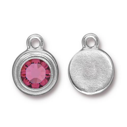 Tierracast Swarovski Birthstone Stepped Bezel Drops - 12mm, Silver Plated - Rose (October)