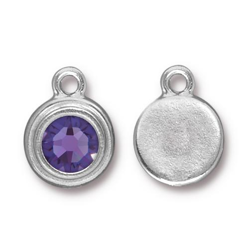 Tierracast Swarovski Birthstone Stepped Bezel Drops - 12mm, Silver Plated - Tanzanite (December)