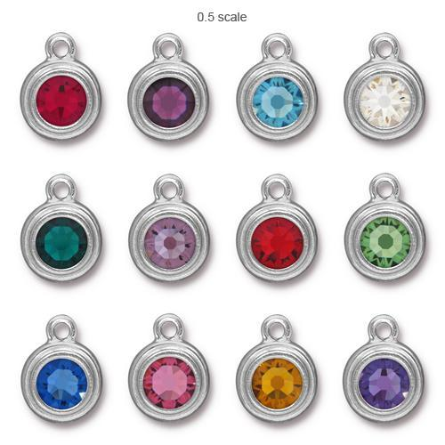 Tierracast Swarovski Birthstone Stepped Bezel Drops - 12mm, Silver Plated - Full Set