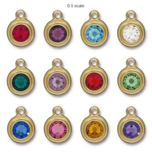 Tierracast Swarovski Birthstone Stepped Bezel Drops - 12mm, Gold Plated - Full Set