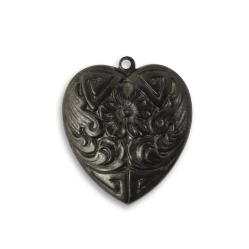 Vintaj Arte Metal 25x21.5mm Forget-Me-Not Heart Pendant