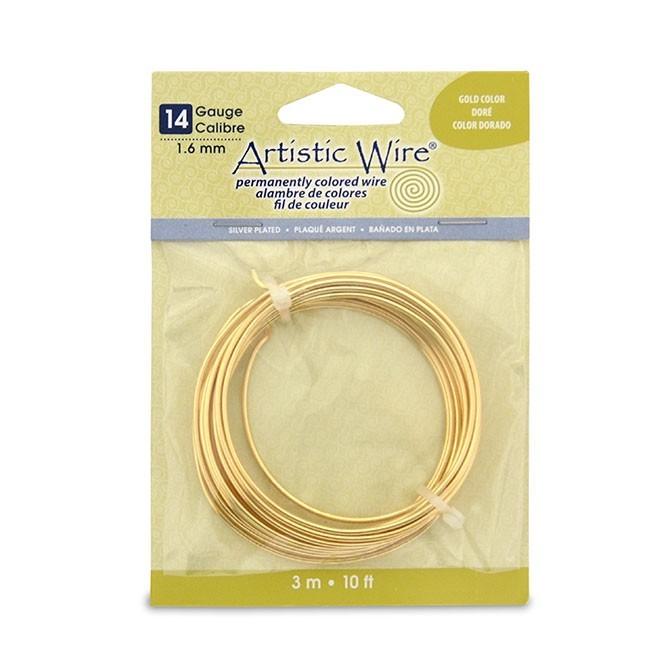 Artistic Wire 14ga Non-Tarnish Gold per 10 ft Coil (3.05m)