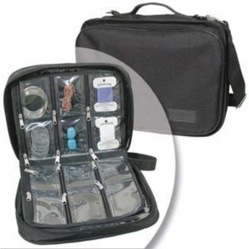 BeadSmith Black Crafter's Tote Bag, with 2 Removable Pockets and 23 Compartments 12x10 inch