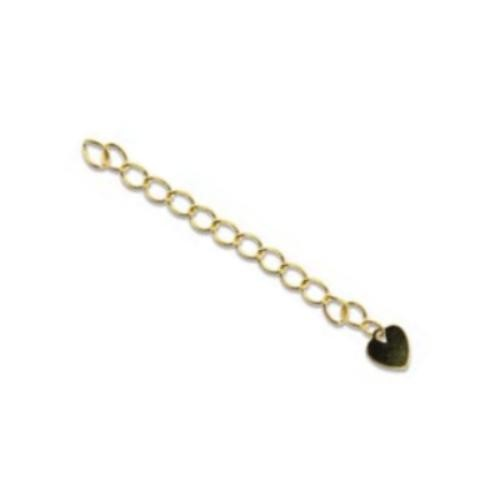 Gold Plated 2 inch Necklace Extender - Extension Chains with Flat Heart Drop pack of x5 sets