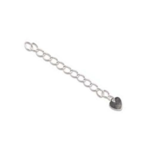 Silver Plated 2 inch Necklace Extender - Extension Chains with Flat Heart Drop pack of x9 sets