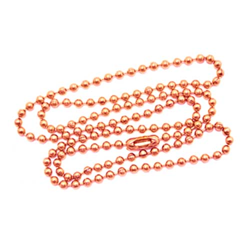 Copper (Pure) 2.4mm Ballchain Bead Ball Chain Necklace 20 inch x1