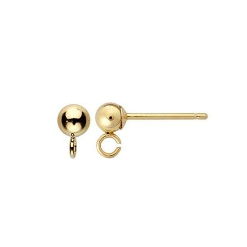 14kt Gold Ball Post 3mm Earring with Loop Findings x1pr
