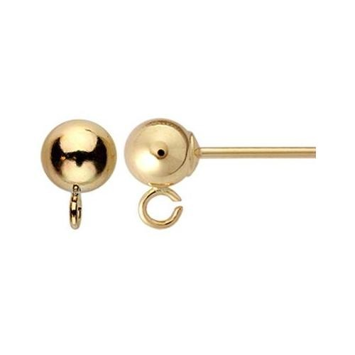 14kt Gold Ball Post 4mm Earring with Loop Findings x1pr