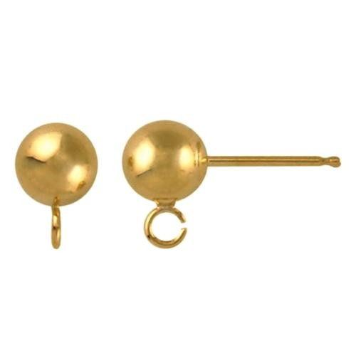 14kt Gold Ball Post 5mm Earring with Loop Findings x1pr