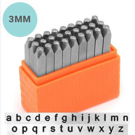 Basic Sans Serif Alphabet Lower Case Letter 3mm 1/8 Stamping Set - ImpressArt