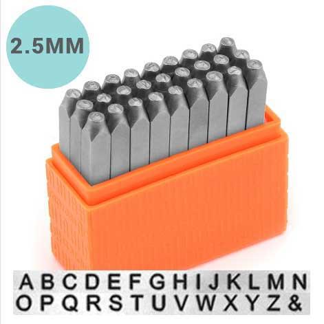 Basic Sans Serif Alphabet Upper Case Letter 2.5mm 3/32 Stamping Set - ImpressArt