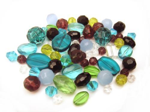 Glass Beads, Blues, Green Amethyst - Soup Mix 50 grams
