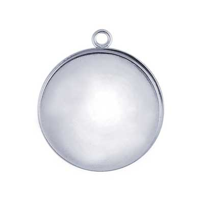 Sterling Silver 15mm Round Bezel Mount Setting with ring x1