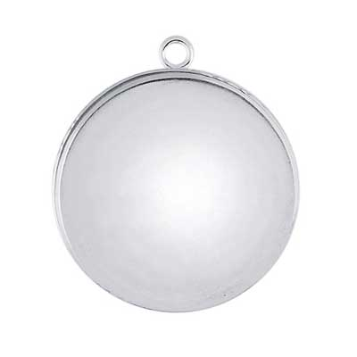 Sterling Silver 20mm Round Bezel Mount Setting with ring x1