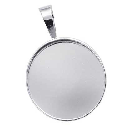 Sterling Silver 25mm Round Bezel Mount Pendant Setting with bail x1