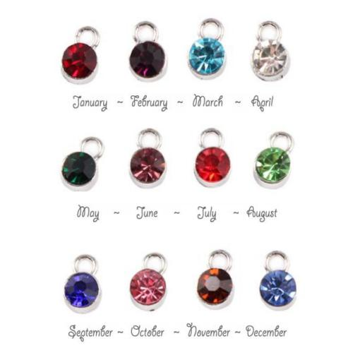 Birthstone Cup Bezel Crystal Charms - 5.8mm, Silver Tone Alloy - Full Set.