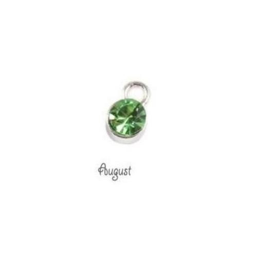 Birthstone Cup Bezel Crystal Charms - 5.8mm, Silver Tone Alloy - August, Peridot