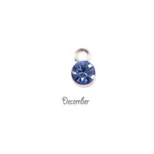 Birthstone Cup Bezel Crystal Charms - 5.8mm, Silver Tone Alloy - December.
