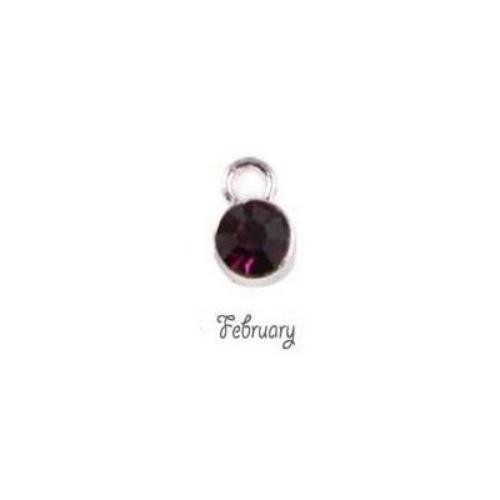 Birthstone Cup Bezel Crystal Charms - 5.8mm, Silver Tone Alloy - February, Amethyst
