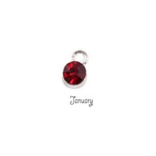 Birthstone Cup Bezel Crystal Charms - 5.8mm, Silver Tone Alloy - January.