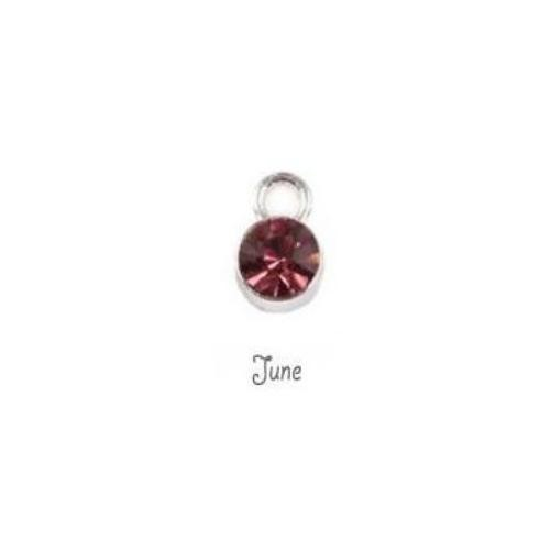 Birthstone Cup Bezel Crystal Charms - 5.8mm, Silver Tone Alloy - June