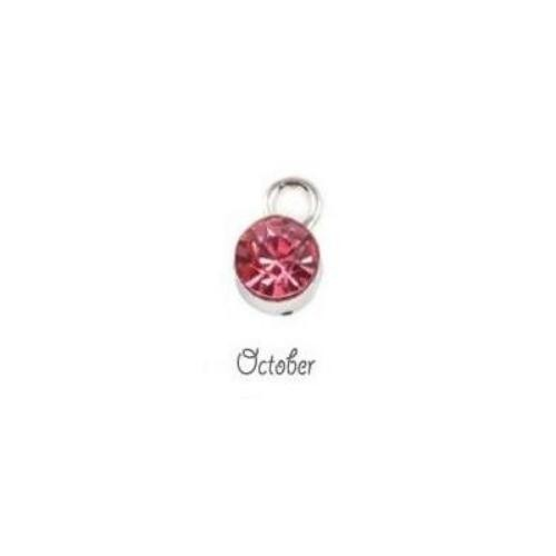 Birthstone Cup Bezel Crystal Charms - 5.8mm, Silver Tone Alloy - October, Pink Tourmaline