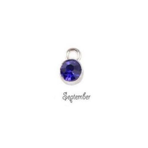 Birthstone Cup Bezel Crystal Charms - 5.8mm, Silver Tone Alloy - September, Sapphire