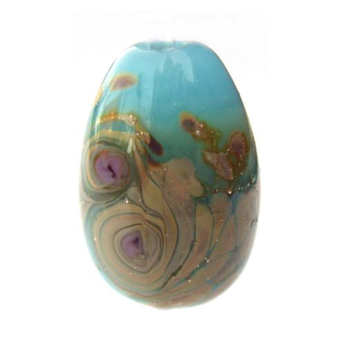 Blue Opal Raku Egg Drop 1 inch - Artisan Glass Lampwork Bead