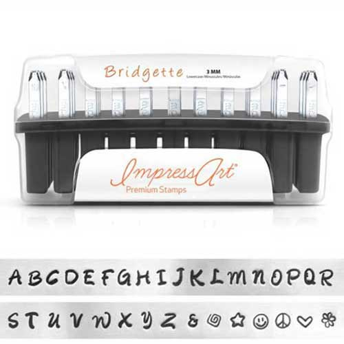 ImpressArt Premium Bridgette Alphabet Upper Case Letter 3mm 1/8 Stamping Set