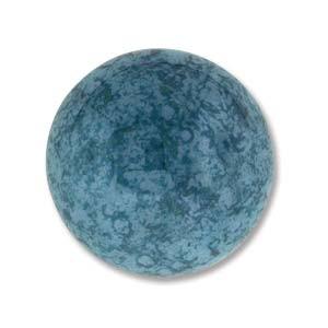 Cabochon Czech Glass 18mm Round - Turquoise Blue Lumi x1
