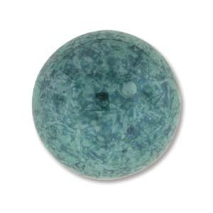 Cabochon Czech Glass 18mm Round - Turquoise Green Lumi x1