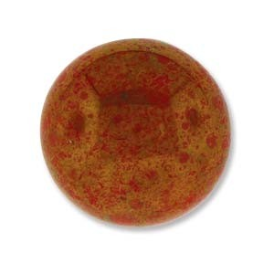 Cabochon Czech Glass 18mm Round - Red Coral Lumi x1
