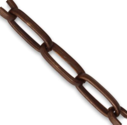 Vintaj Natural Brass 5.5x12.8mm Elongated Oval Half Round Chain (open link) per half foot