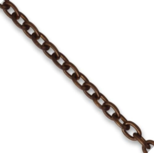 Vintaj Natural Brass 3.3x4.4mm Classic Cable Chain (open link) per half foot