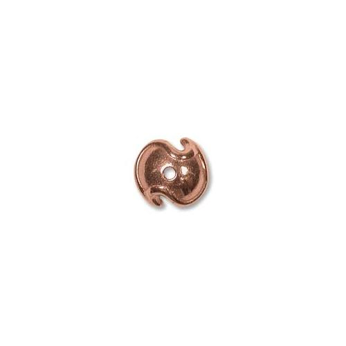 Pure Copper Wave Style 9mm Bead Cap  x1